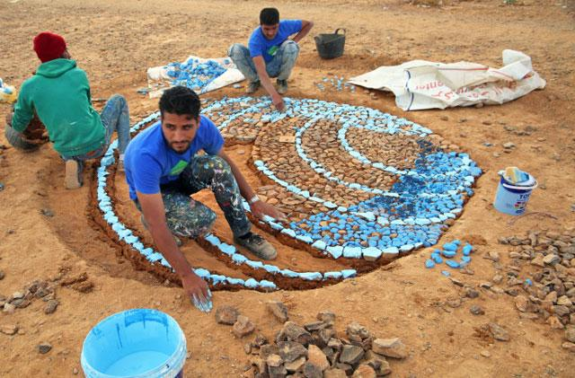 Artists Work with Refugees to Create Mosaic Park in Azraq Camp